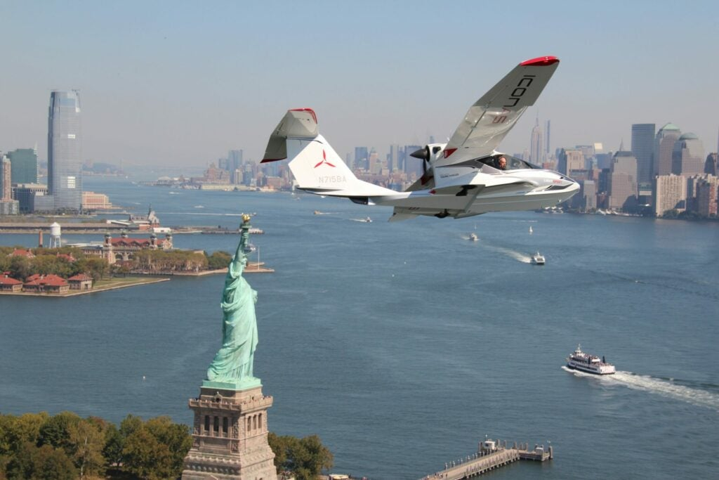 Icon's A5 Flying around lady liberty