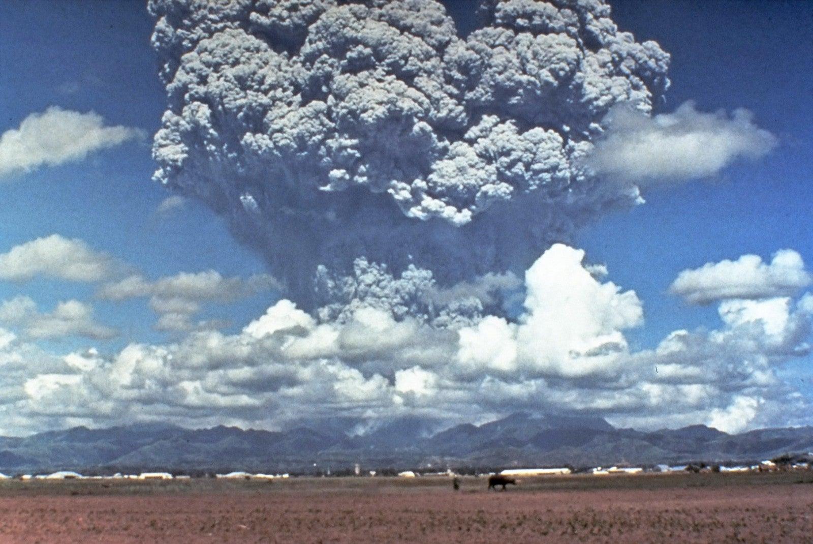 Mount Pinatubo erupts.