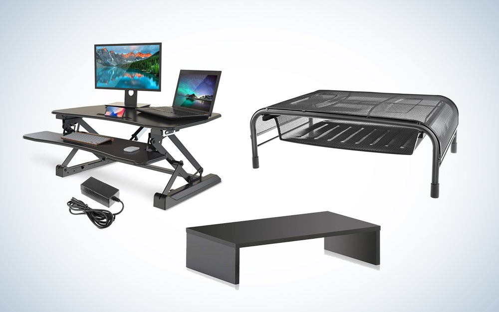 Monitor stands and heigh-adjustable desks