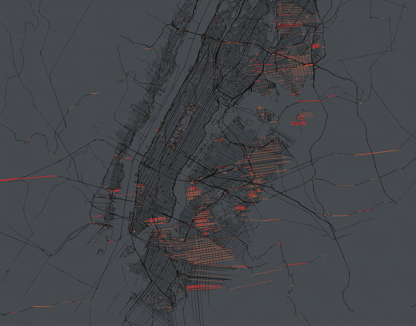 data visualization of streets illuminated by sunset in New York City