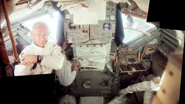 Aldrin inside the LM Eagle