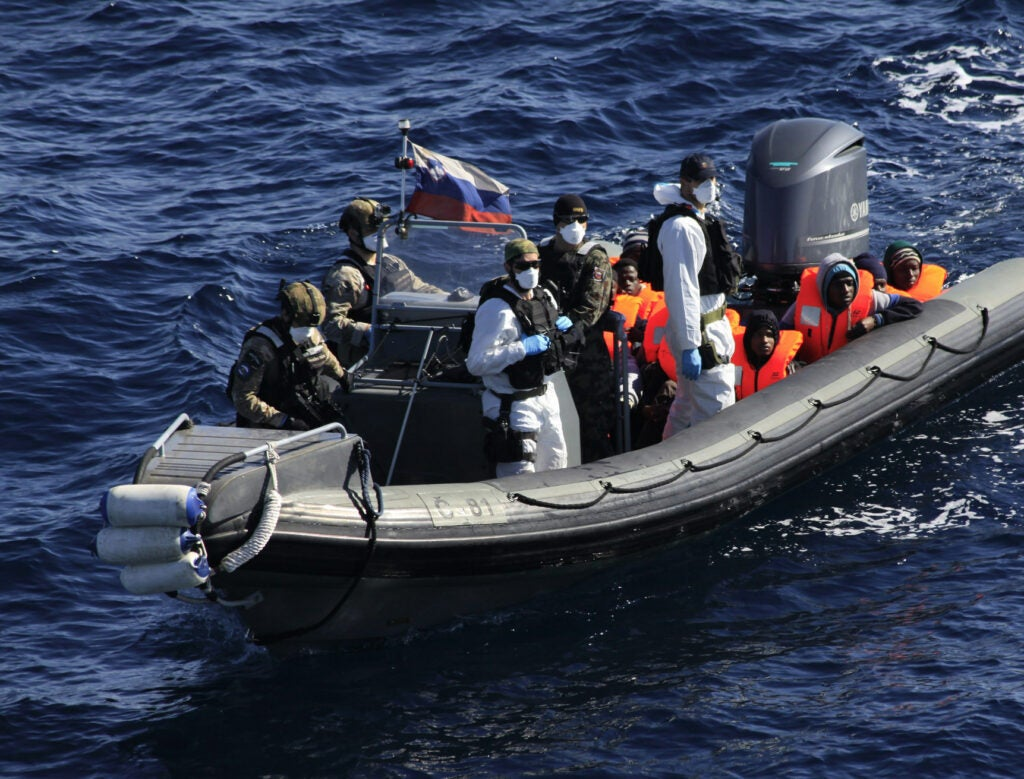 Migrants transported by European Union Naval Force Mediterranean