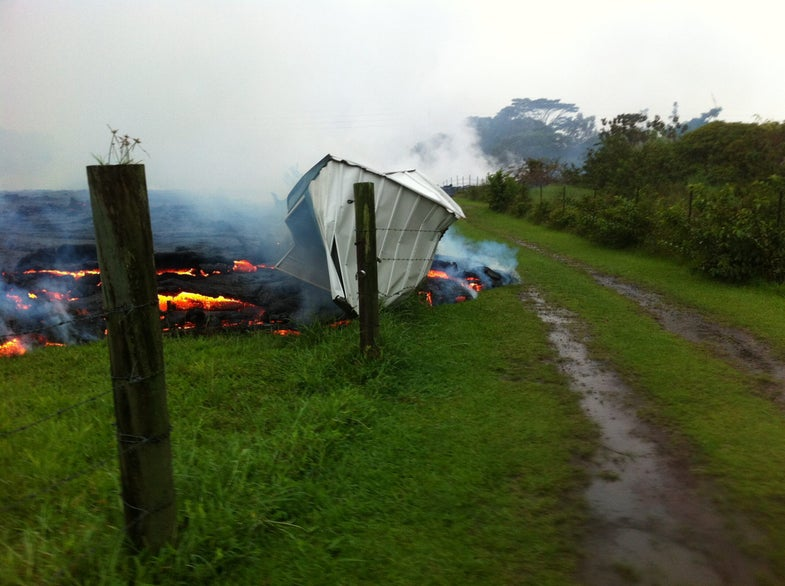 shed consumed by the lava flow