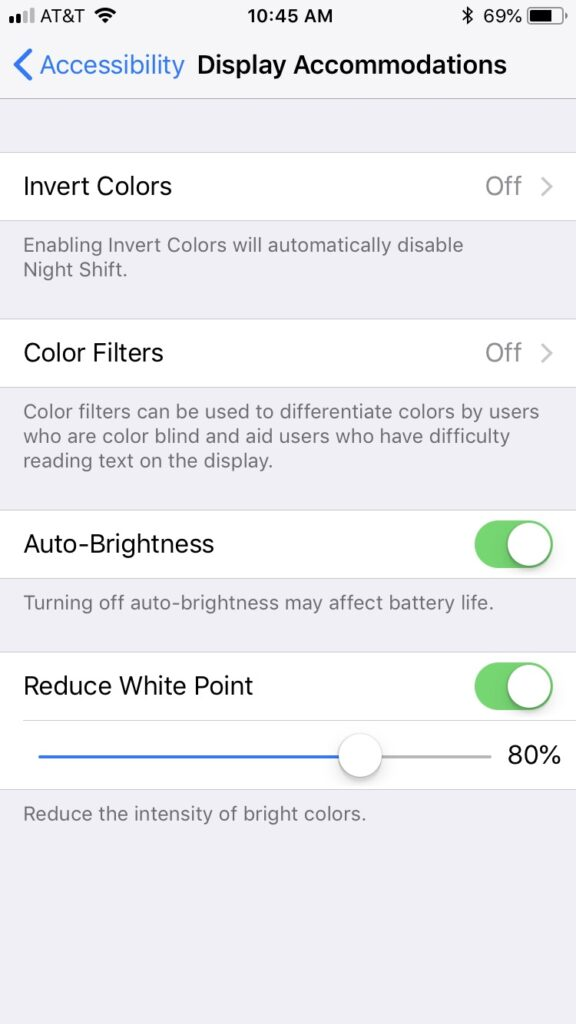 The iOS settings screen where you can reduce the iPhone's white point.
