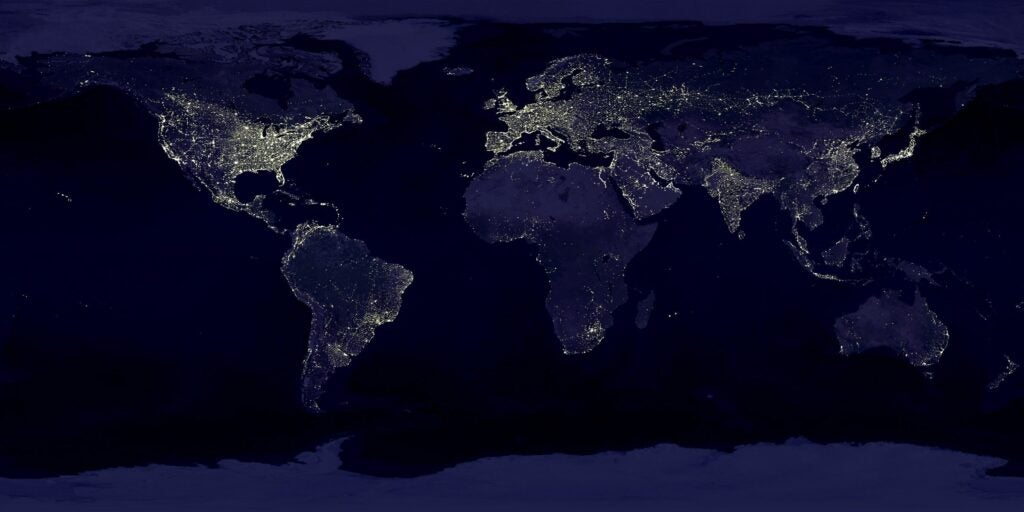 Earth lights from above.