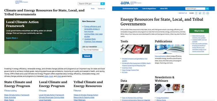 EPA website changed to omit climate change
