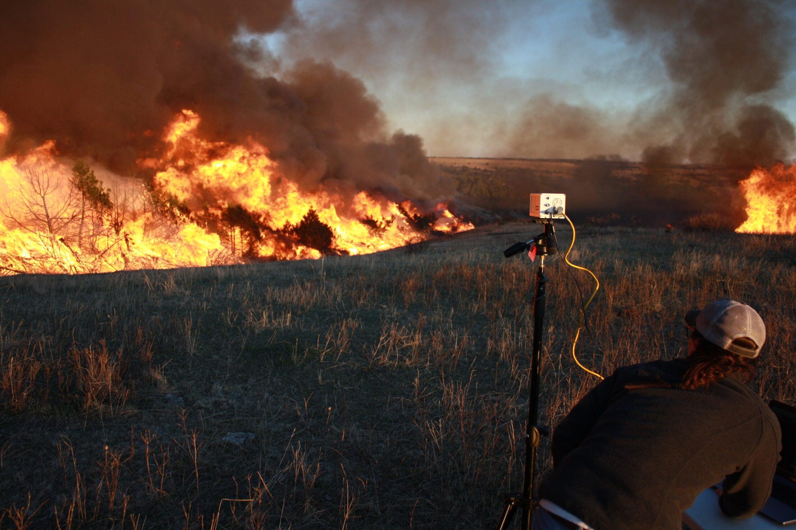 UNL Graduate student Christina Bielski recorded data during a high intensity prescribed fire burning through juniper-invaded grassland on private property.