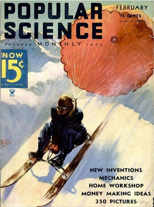 Parachute Sledding: February 1935