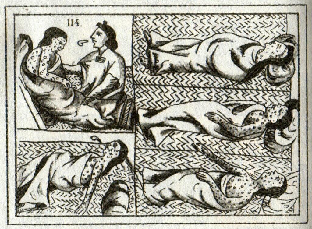 Drawings of Aztec smallpox victims
