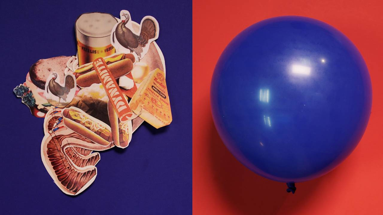 A stomach full of food, a balloon
