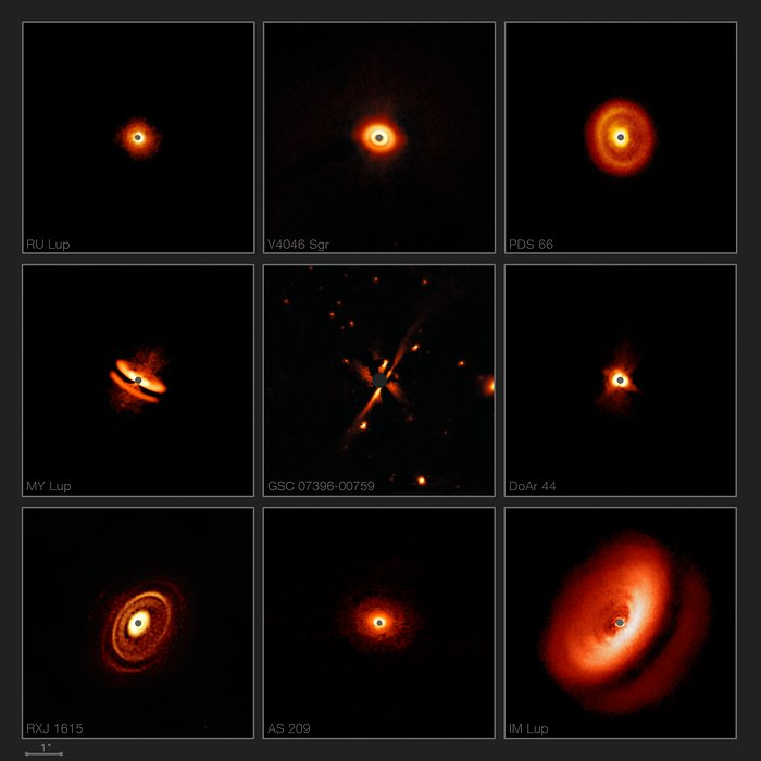images of dust disks in space