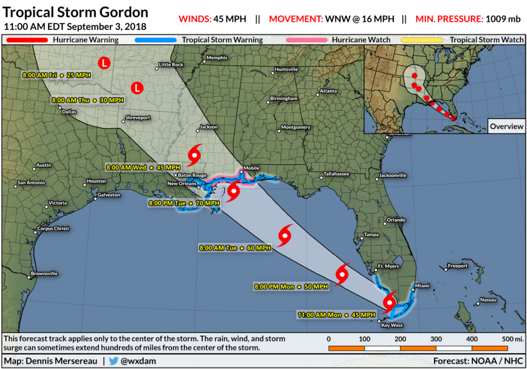 a map showing a storm track from southern florida up to alabama