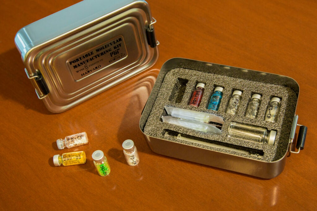 A mock portable kit for on-the-go medicine manufacturing
