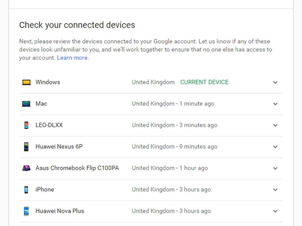 A Google account settings page showing connected devices.