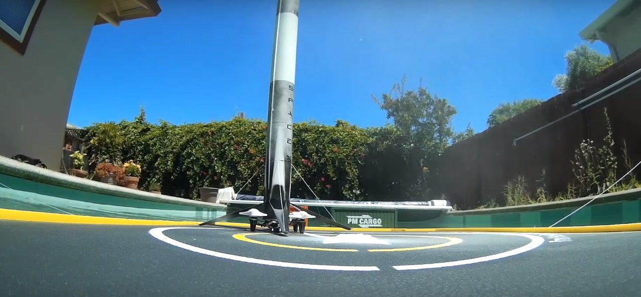Tiny Falcon 9 Rocket Lands Successfully In Backyard Pool