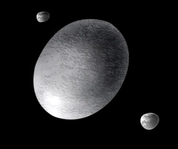 three rocks in space
