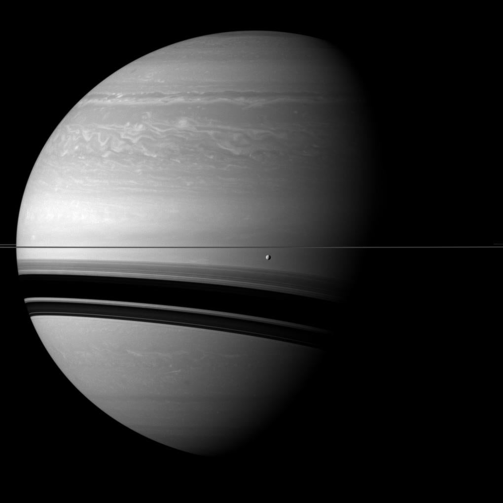 tethys in front of saturn