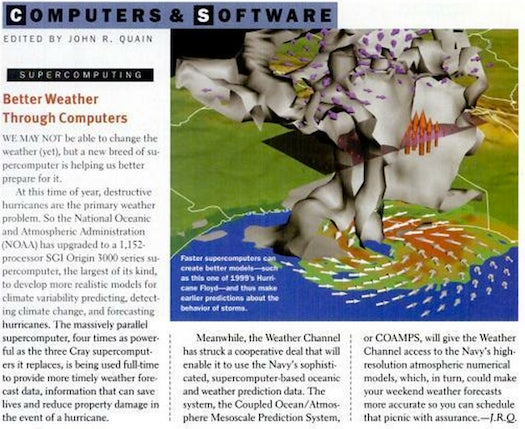 Modeling Weather With Computers, September 2001