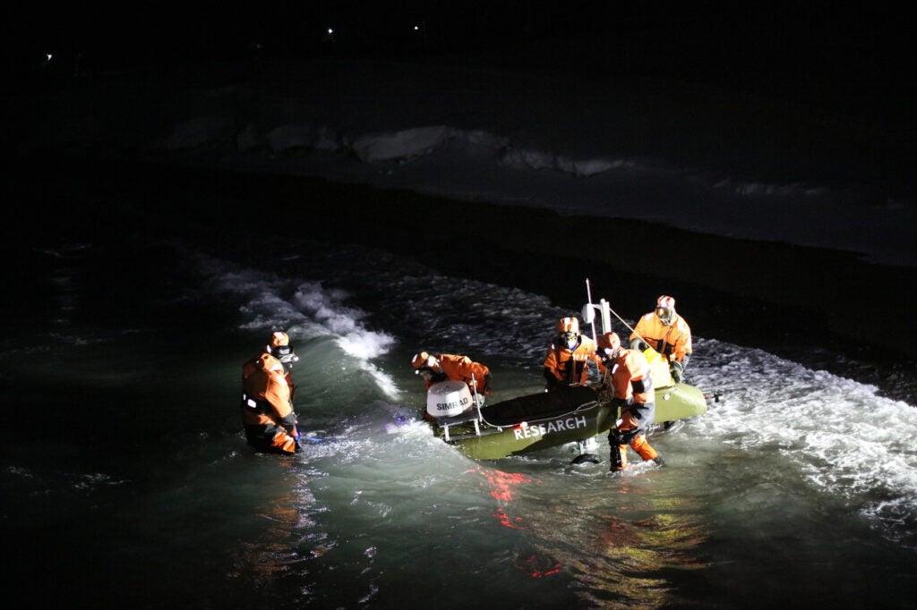 a robotic vessel in the ocean