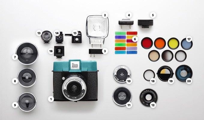 interchangeable lenses and a hotshoe flash mount