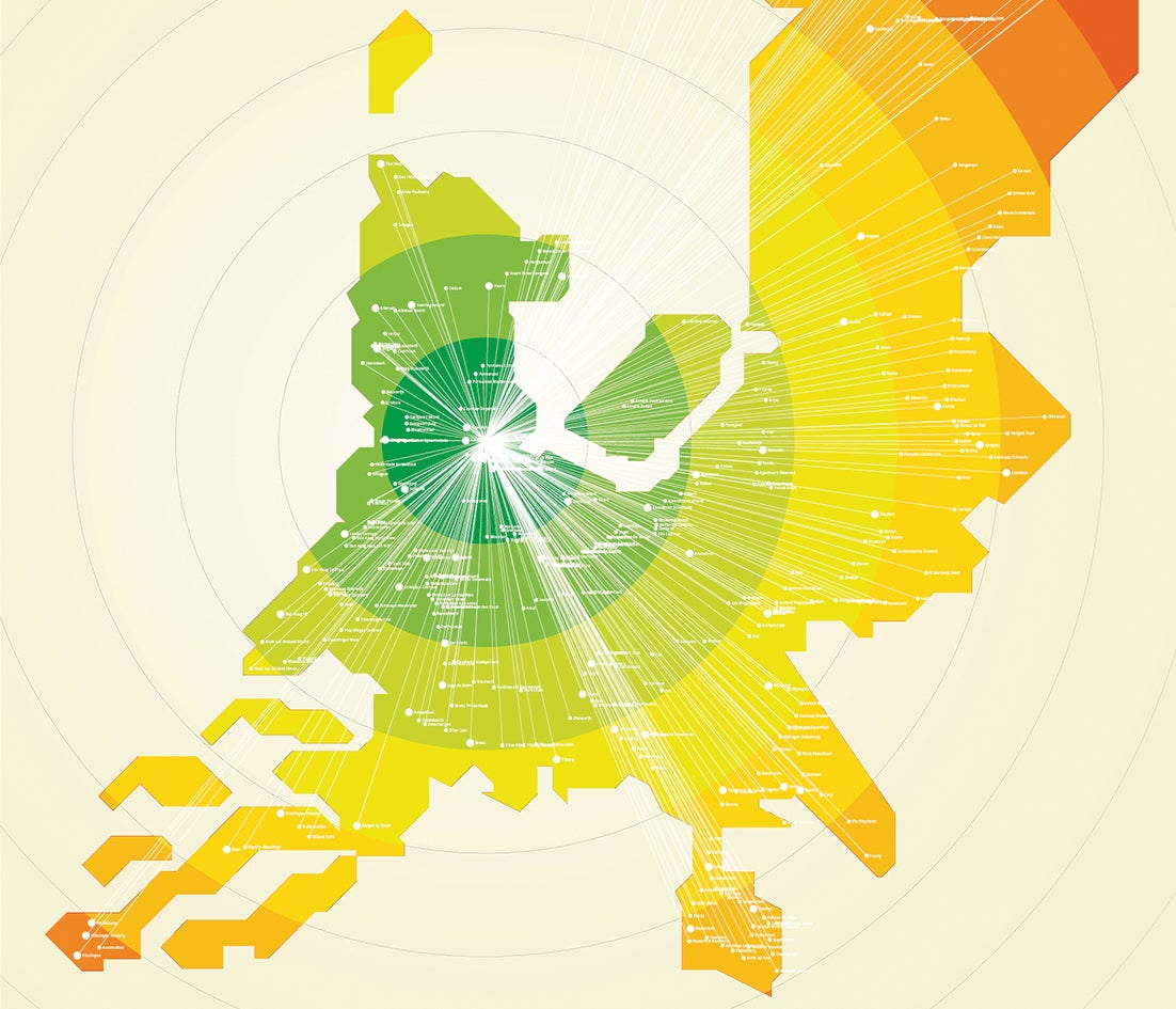 interactive train travel time map of the Netherlands