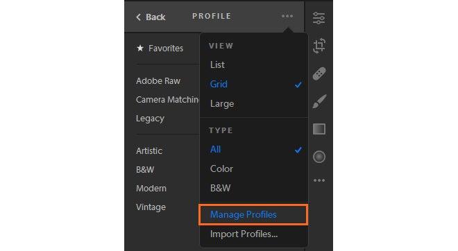adobe lightroom cc profile management