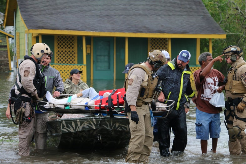 rescue workers in flood