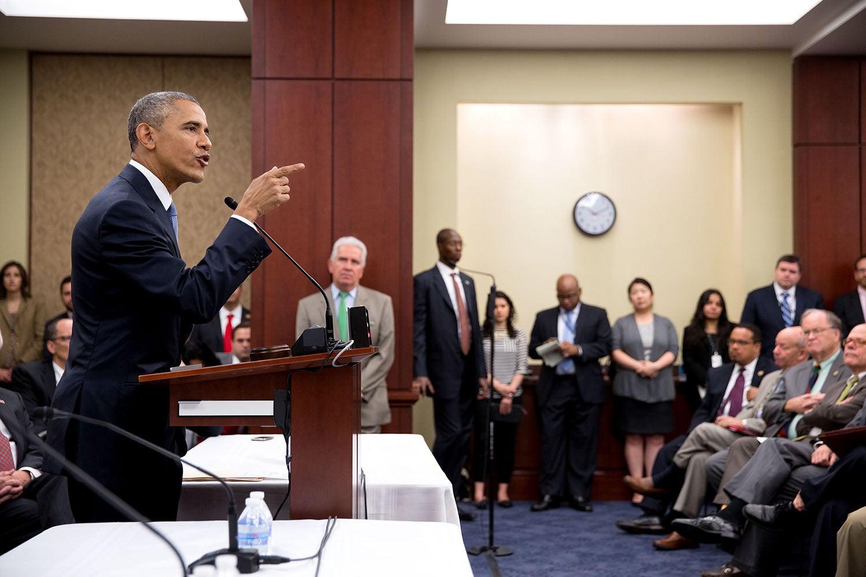 President Obama addresses the House Democratic Caucus
