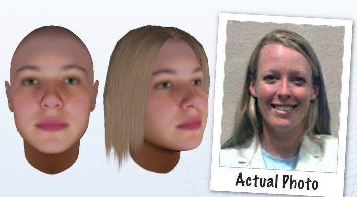 image showing two views of an illustrated face estimate, plus the real person