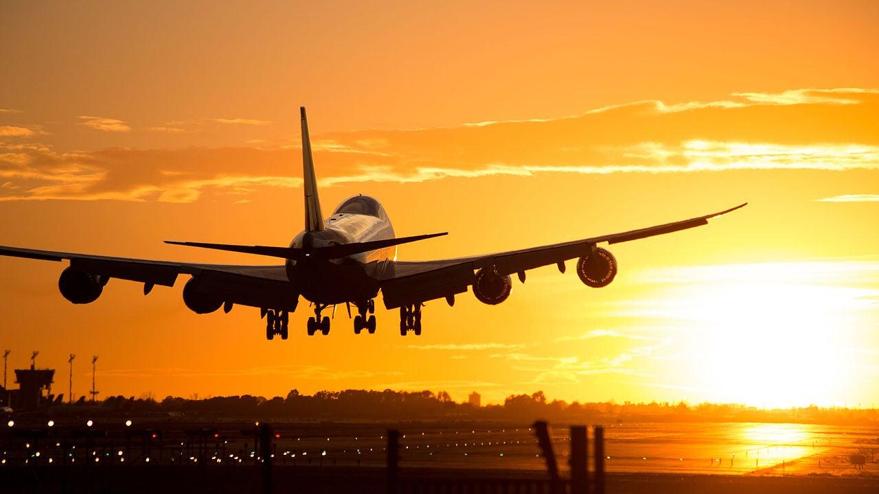 Boeing 747 Landing In Barcelona During Sunset