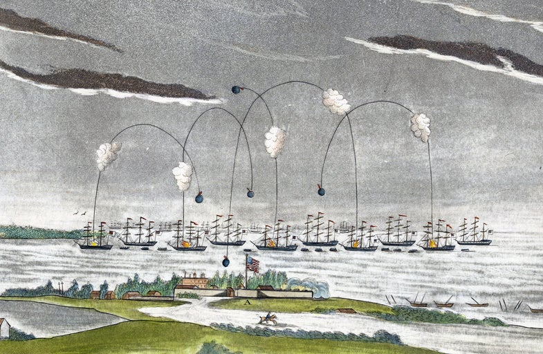 Rockets from ships landing on a fort on a island in an old painting
