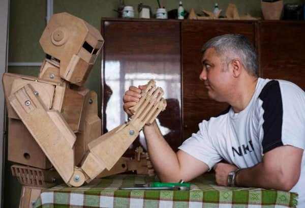 A Full-Scale Wood Cylon Because Why Not