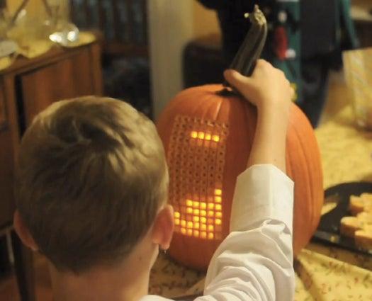 A Working Tetris Game Inside A Pumpkin