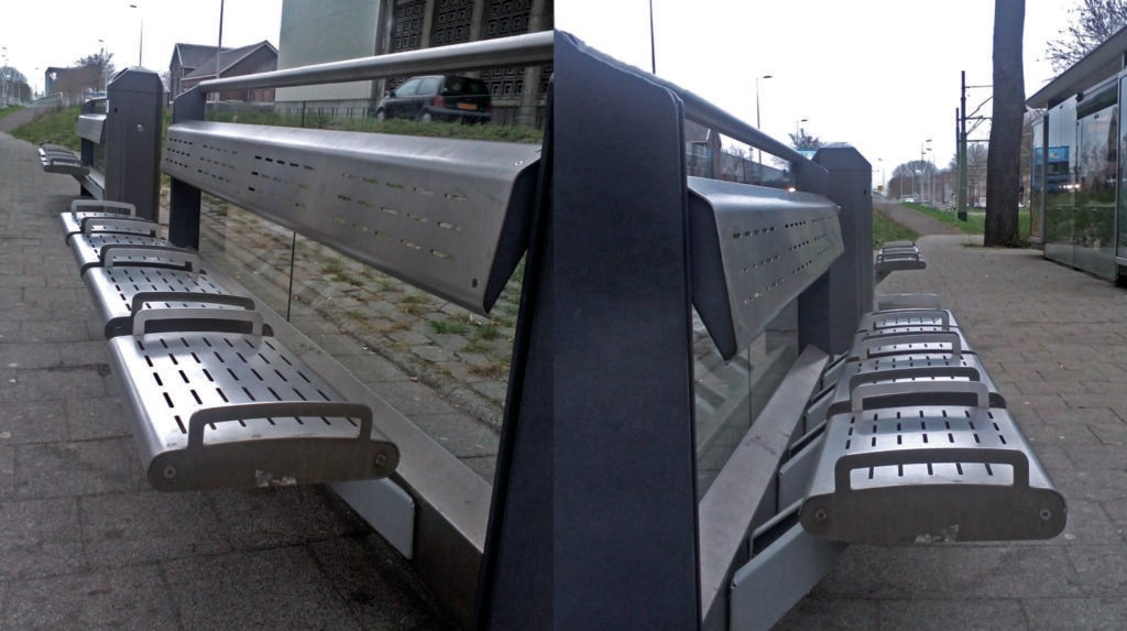 A bench in Rotterdam with an array of unpleasant design features.