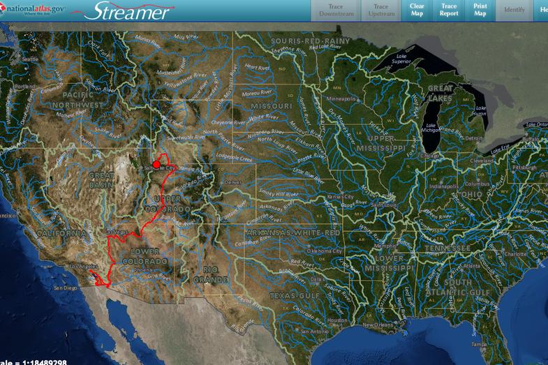 Trace Any U.S. Waterway Upstream, Downstream, Sidestream