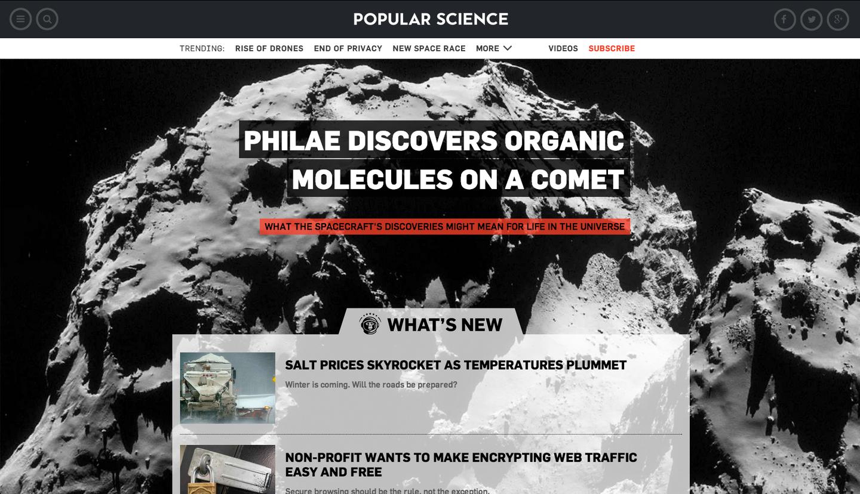 screenshot of PopSci.com homepage