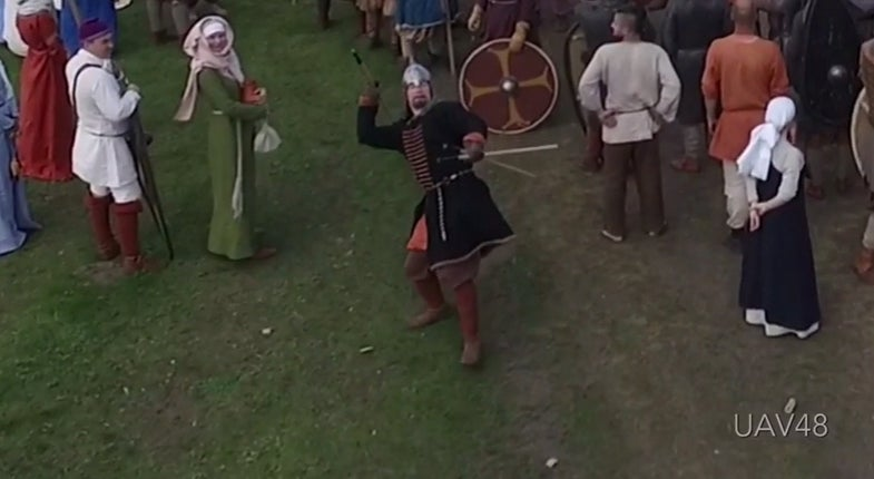 Middle Ages Reenactor Spears Drone Out Of The Sky