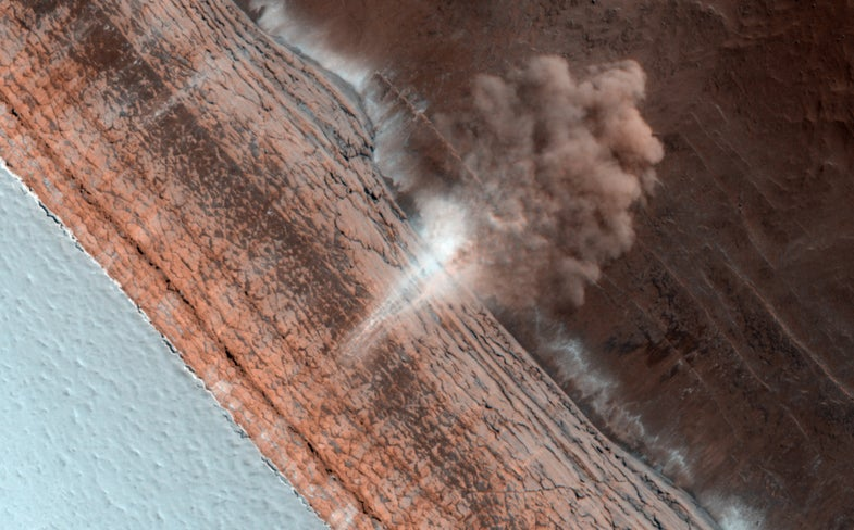 Rolling Martian Avalanche Greets the Spring