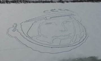 Celebrate The First Cosmonaut With A Snow Portrait