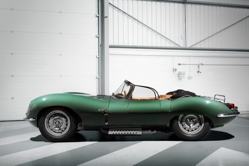 The Jaguar XKSS in profile.