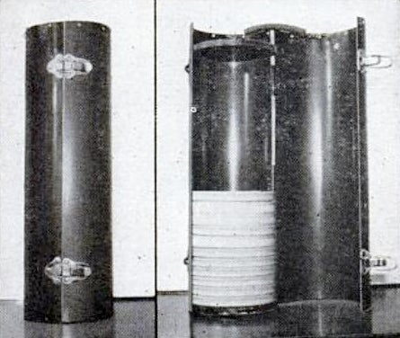 Movie Reels Carried in Case Made of Stovepipe