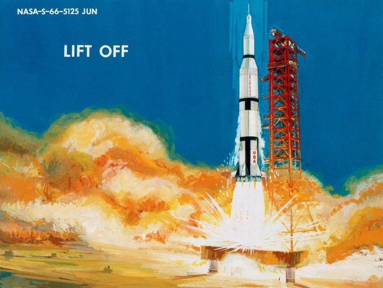 Liftoff of a spaceship