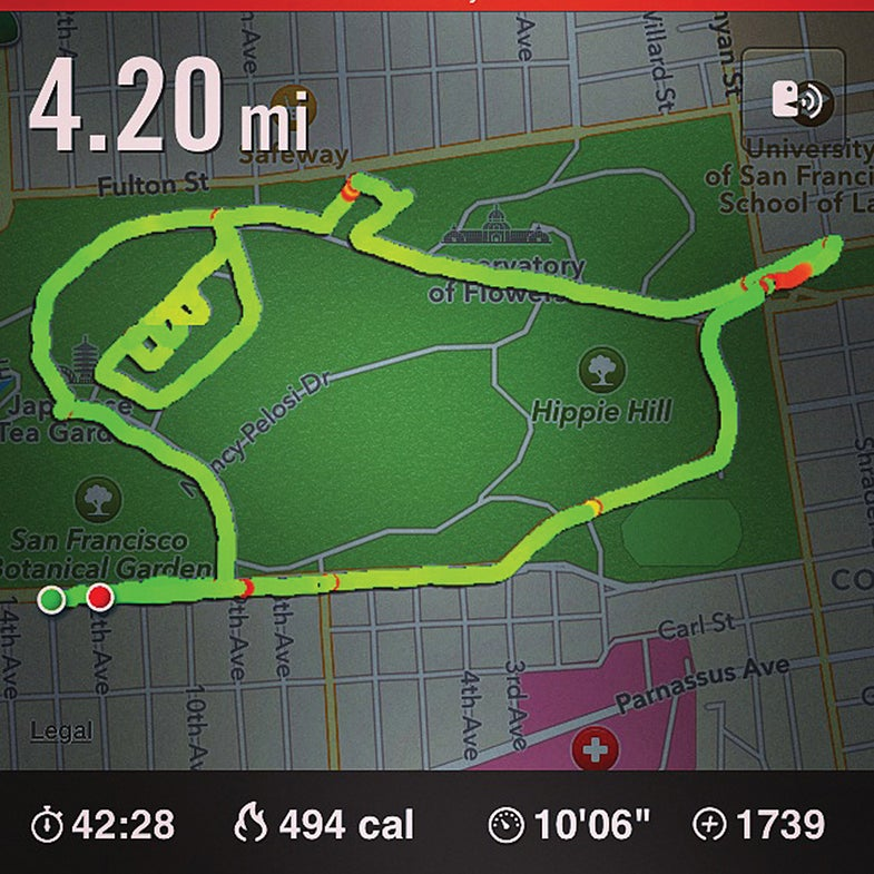 woman's Nike+ running course shaped like Slimer on a map