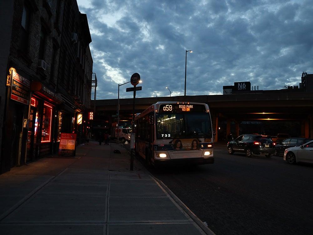 night time bus stop