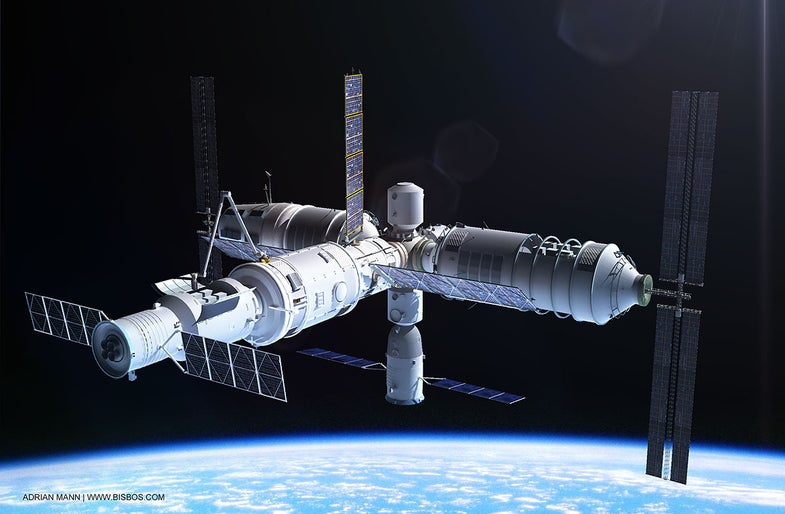 China Tiangong spaceship in space