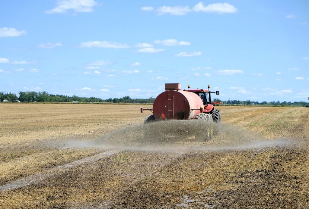 fertilizer being sprayed on field