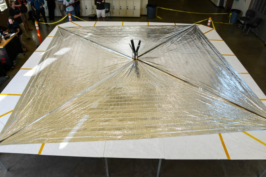 LightSail 2 sails extend to almost their full extend.