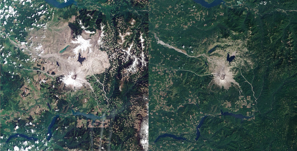 Mount St. Helens In 1984 And Today