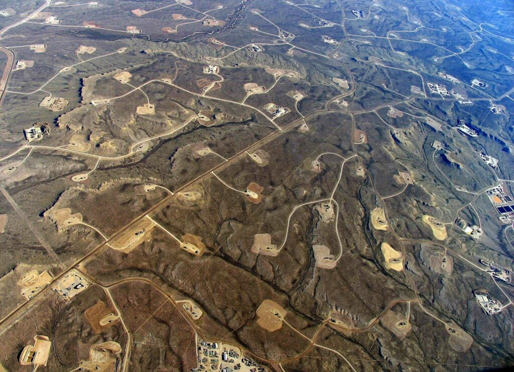 Aerial view of fracking operations