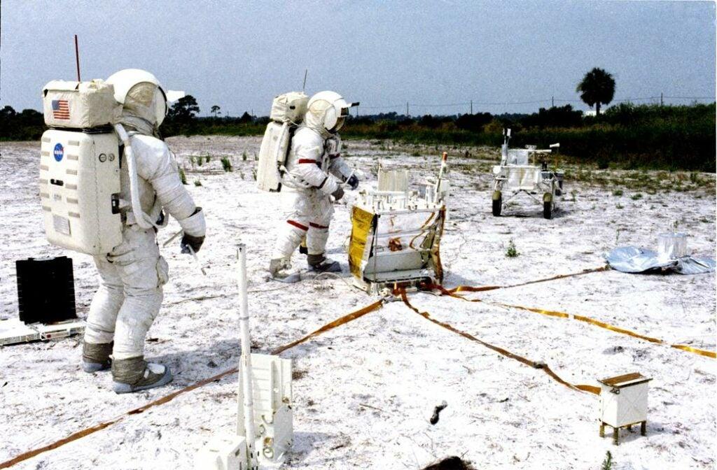 Apollo 14 astronauts practising deploying an ALSEP